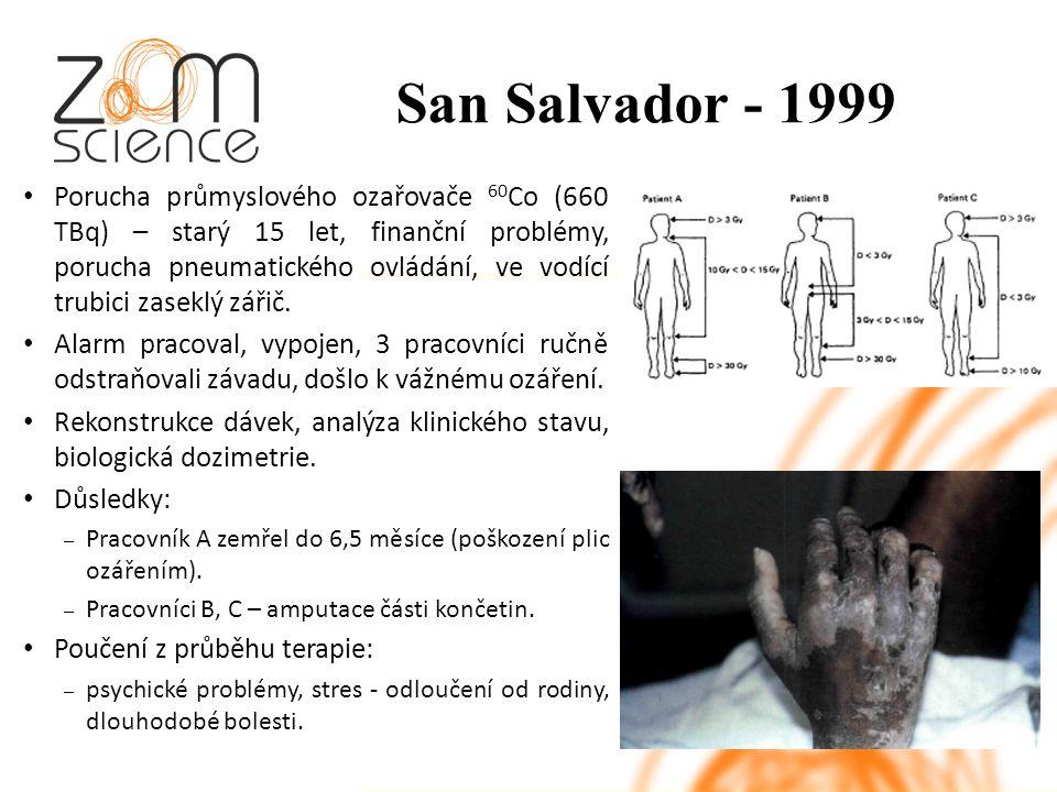 San Salvador - 1999 Porucha průmyslového ozařovače 60 Co (660 TBq) – starý 15 let, finanční problémy, porucha pneumatického ovládání, ve vodící trubici zaseklý zářič.
