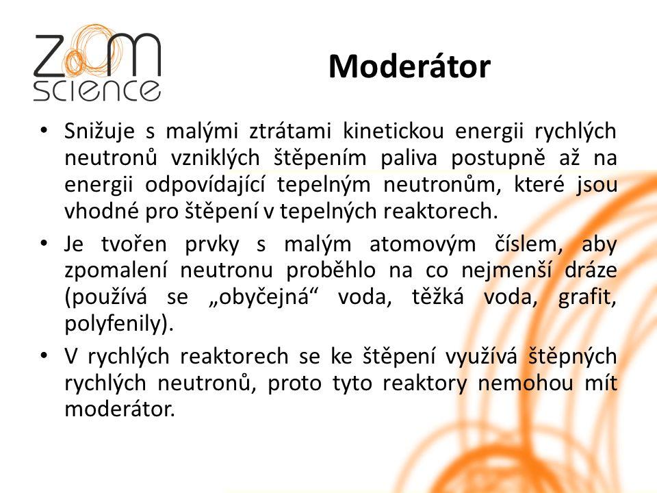 Moderátor Snižuje s malými ztrátami kinetickou energii rychlých neutronů vzniklých štěpením paliva postupně až na energii odpovídající tepelným neutronům, které jsou vhodné pro štěpení v tepelných reaktorech.