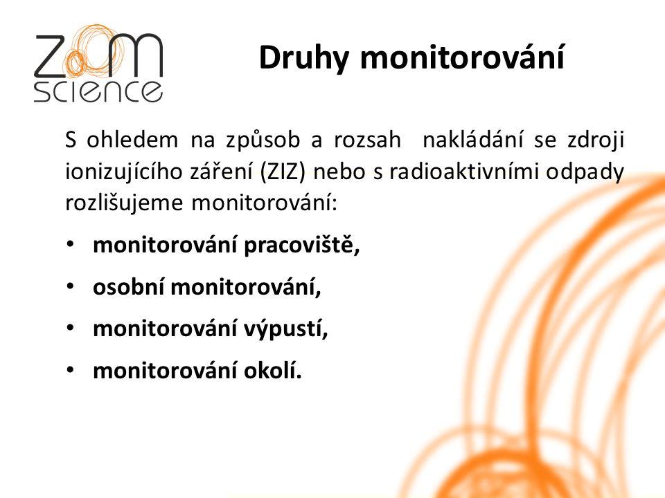 Druhy monitorování S ohledem na způsob a rozsah nakládání se zdroji ionizujícího záření (ZIZ) nebo s radioaktivními odpady rozlišujeme monitorování: monitorování pracoviště, osobní monitorování, monitorování výpustí, monitorování okolí.
