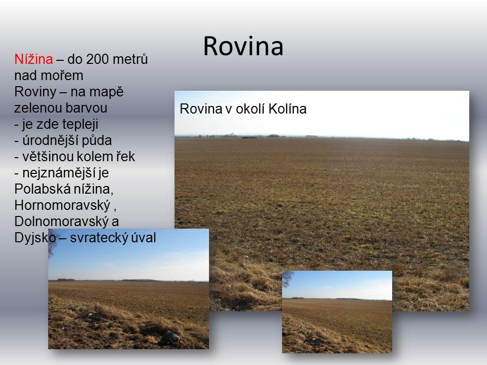 Rovina Rovina v okolí Kolína Nížina – do 200 metrů nad mořem Roviny – na mapě zelenou barvou - je zde tepleji - úrodnější půda - většinou kolem řek -