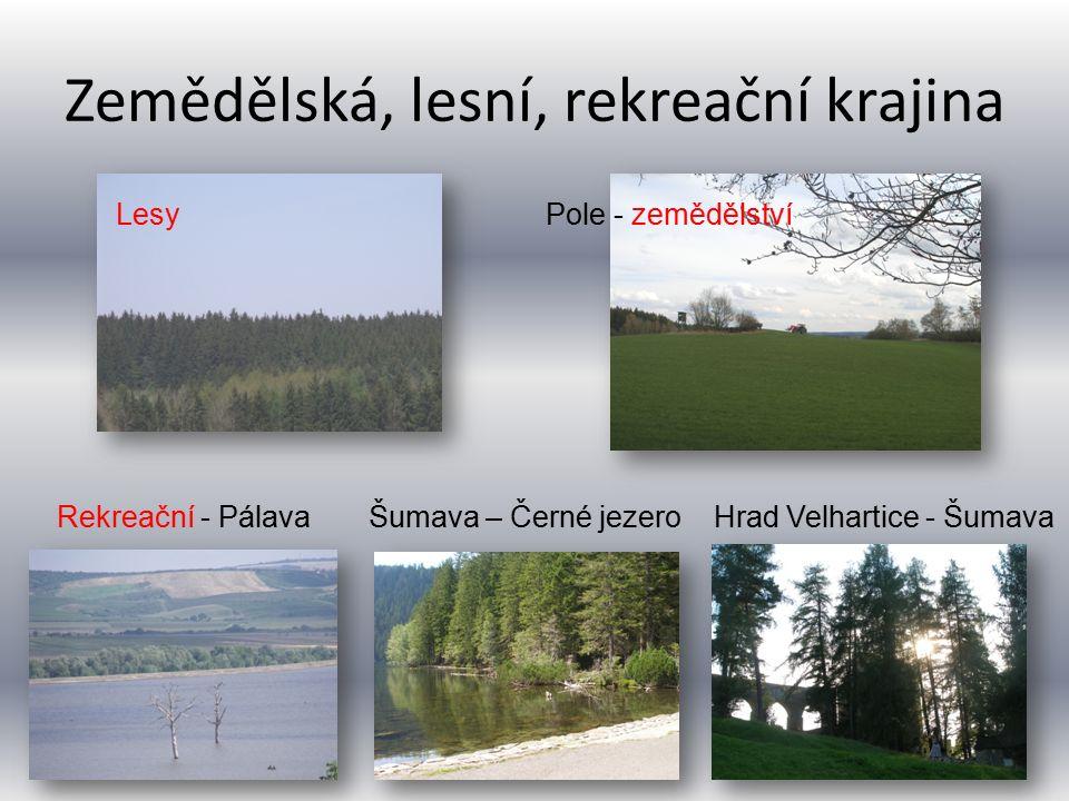 Zemědělská, lesní, rekreační krajina LesyPole - zemědělství Rekreační - PálavaŠumava – Černé jezeroHrad Velhartice - Šumava