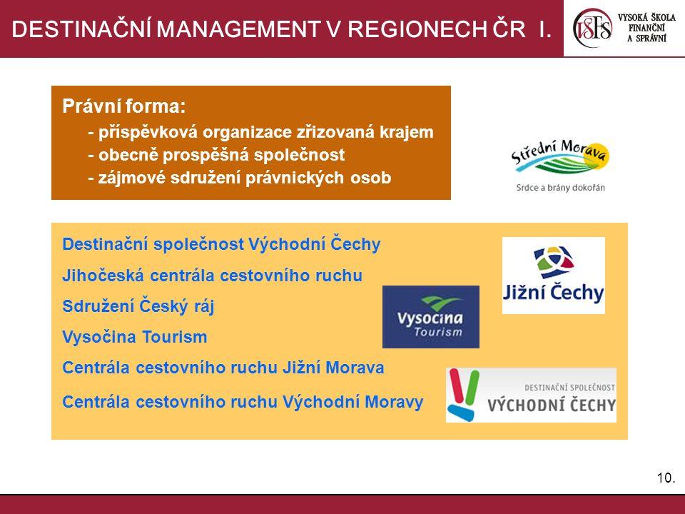 10.DESTINAČNÍ MANAGEMENT V REGIONECH ČR I.