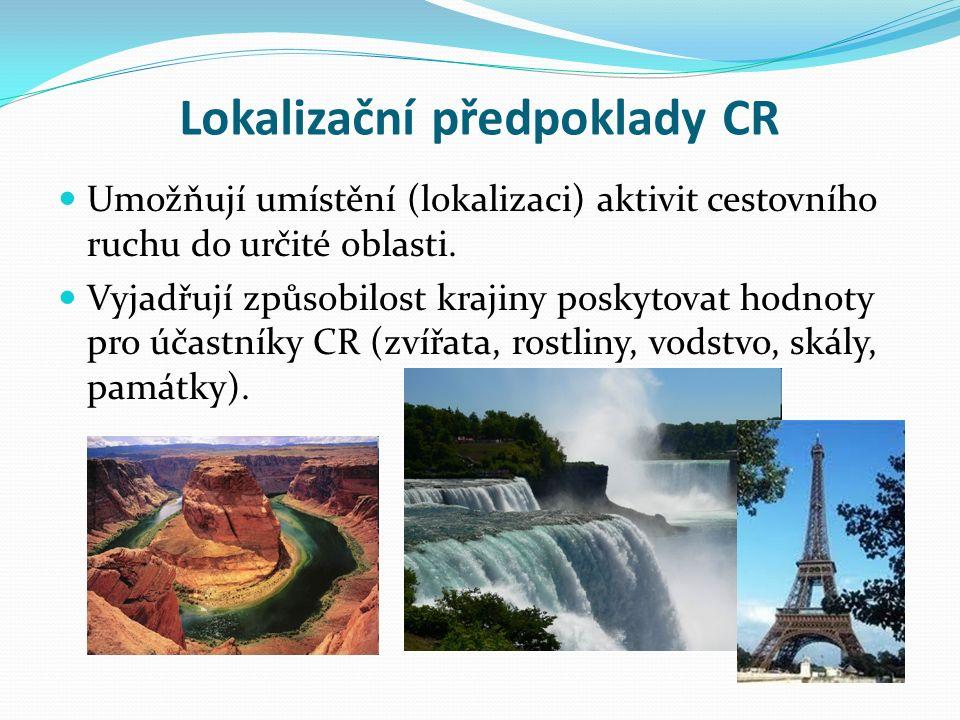 Lokalizační předpoklady CR Umožňují umístění (lokalizaci) aktivit cestovního ruchu do určité oblasti.