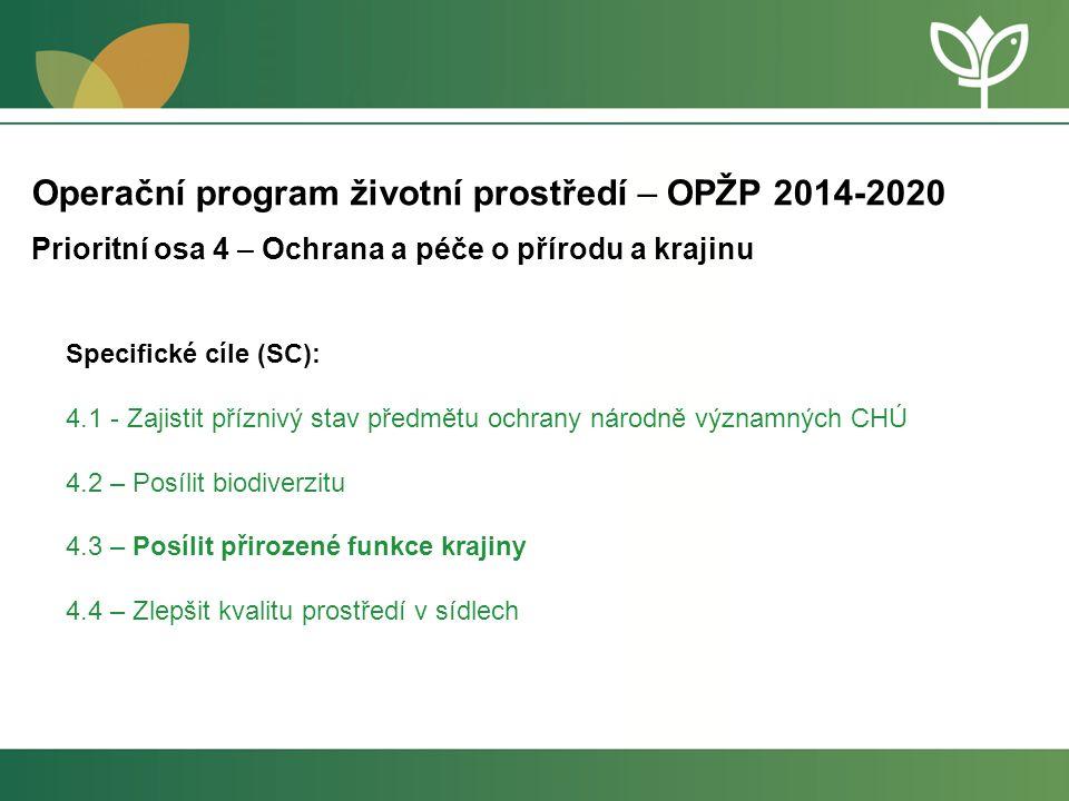 4.1: ZAJISTIT PŘÍZNIVÝ STAV PŘEDMĚTU OCHRANY NÁRODNĚ VÝZNAMNÝCH CHRÁNĚNÝCH ÚZEMÍ Podporované opatření: Zajištění péče o NP, CHKO, NPR, NPP (včetně OP) a lokality soustavy Natura 2000 (území národního významu) -péče o vodní útvary a mokřadní biotopy -péče zaměřená na podporu biodiverzity, podporu cílových stanovišť a druhů Opatření musí vycházet z plánovací dokumentace, tj.