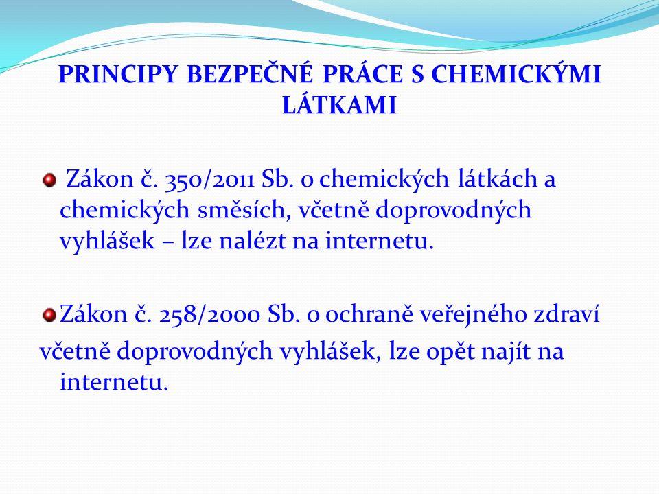 PRINCIPY BEZPEČNÉ PRÁCE S CHEMICKÝMI LÁTKAMI Zákon č. 350/2011 Sb. o chemických látkách a chemických směsích, včetně doprovodných vyhlášek – lze naléz