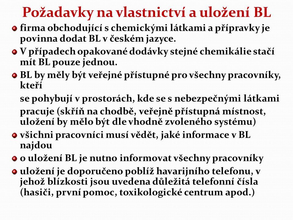 Požadavky na vlastnictví a uložení BL firma obchodující s chemickými látkami a přípravky je povinna dodat BL v českém jazyce.