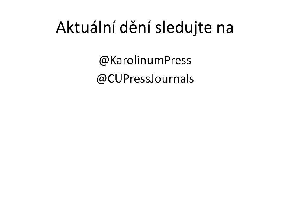 Aktuální dění sledujte na @KarolinumPress @CUPressJournals