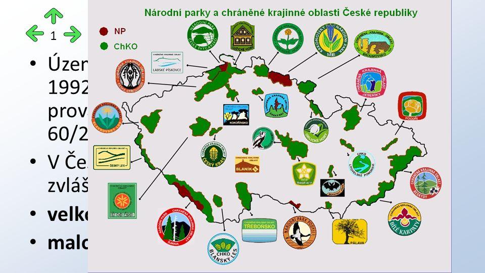 Do VZCHÚ spadají dvě kategorie: Národní park (NP) Chráněná krajinná oblast (CHKO) Do MZCHÚ spadají čtyři kategorie: Národní přírodní rezervace (NPR) Národní přírodní památka (NPP) Přírodní rezervace (PR) Přírodní památka (PP) 2