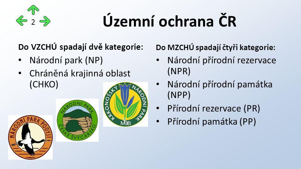 Do VZCHÚ spadají dvě kategorie: Národní park (NP) Chráněná krajinná oblast (CHKO) Do MZCHÚ spadají čtyři kategorie: Národní přírodní rezervace (NPR) N