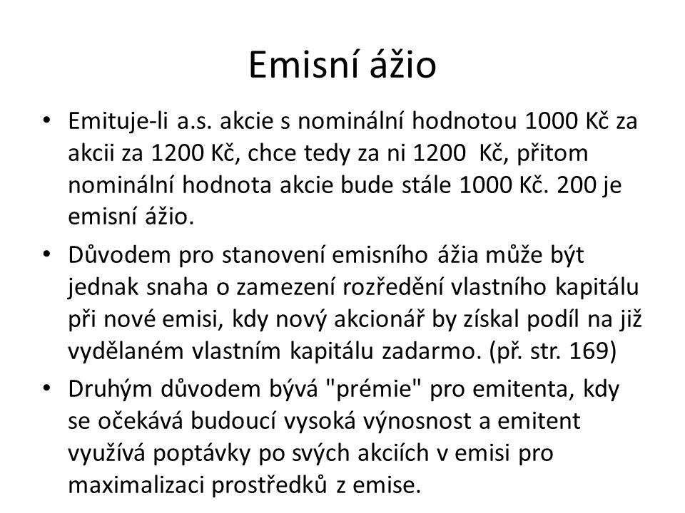 Emisní ážio Emituje-li a.s.