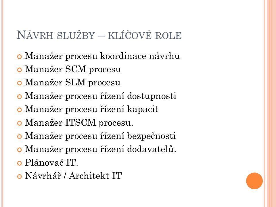 N ÁVRH SLUŽBY – KLÍČOVÉ ROLE Manažer procesu koordinace návrhu Manažer SCM procesu Manažer SLM procesu Manažer procesu řízení dostupnosti Manažer procesu řízení kapacit Manažer ITSCM procesu.