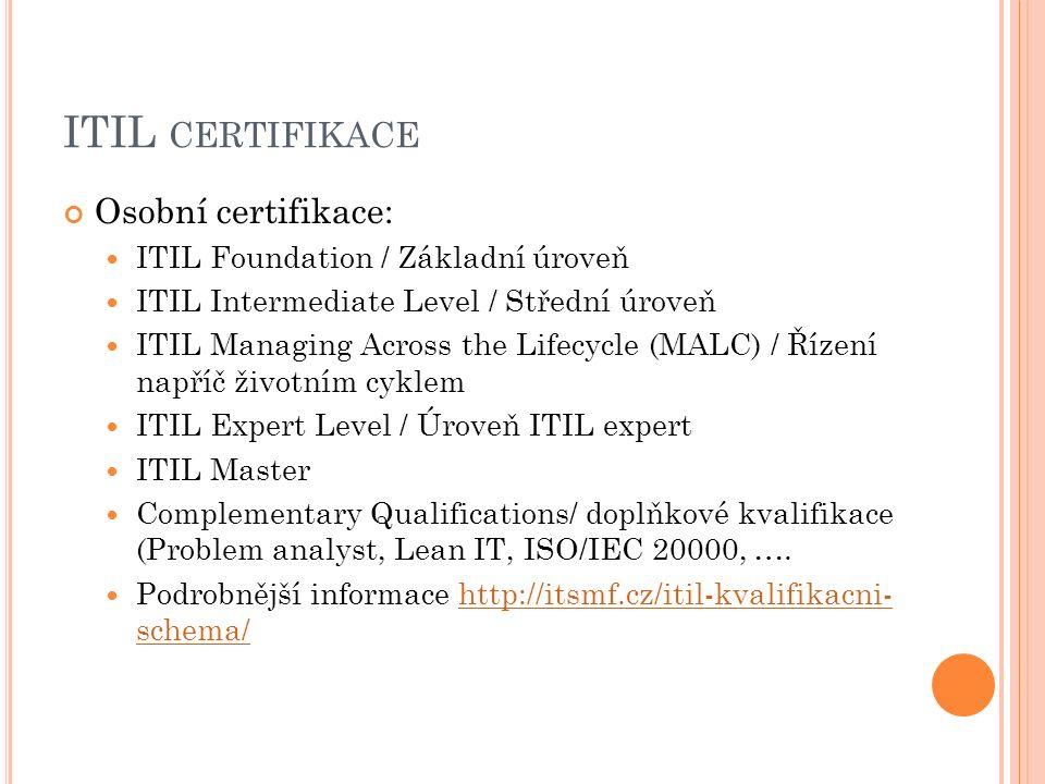 ITIL CERTIFIKACE Osobní certifikace: ITIL Foundation / Základní úroveň ITIL Intermediate Level / Střední úroveň ITIL Managing Across the Lifecycle (MALC) / Řízení napříč životním cyklem ITIL Expert Level / Úroveň ITIL expert ITIL Master Complementary Qualifications/ doplňkové kvalifikace (Problem analyst, Lean IT, ISO/IEC 20000, ….