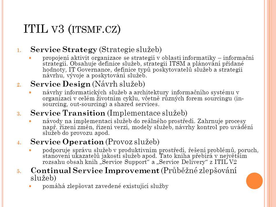 ITIL V 3 ( ITSMF. CZ ) 1. Service Strategy (Strategie služeb) propojení aktivit organizace se strategií v oblasti informatiky – informační strategií.