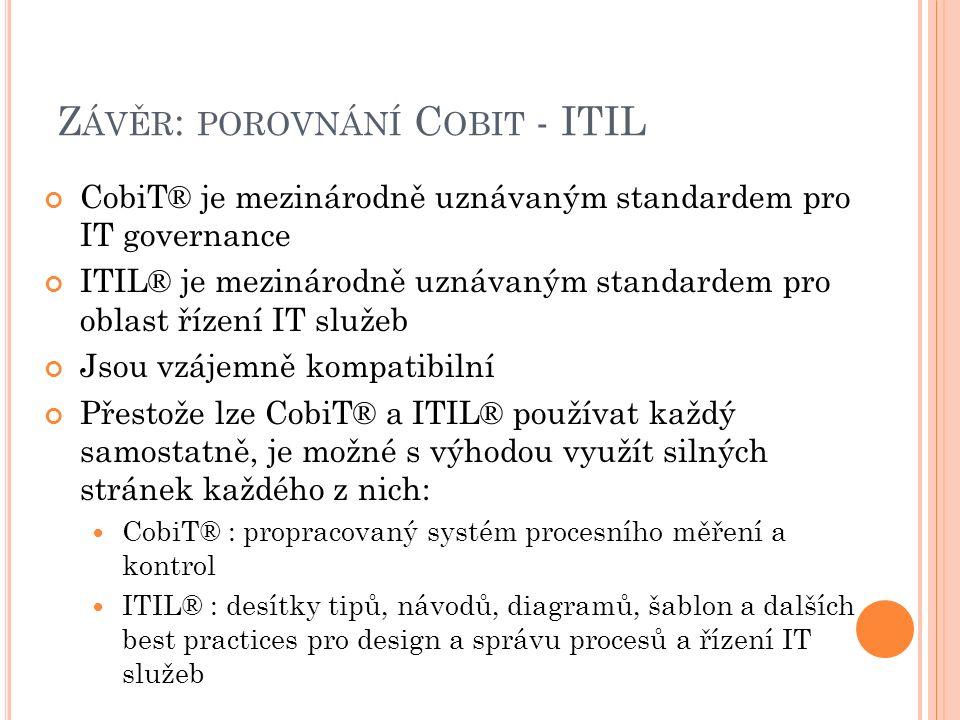 Z ÁVĚR : POROVNÁNÍ C OBIT - ITIL CobiT® je mezinárodně uznávaným standardem pro IT governance ITIL® je mezinárodně uznávaným standardem pro oblast říz