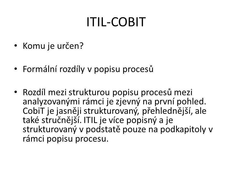 ITIL-COBIT Komu je určen? Formální rozdíly v popisu procesů Rozdíl mezi strukturou popisu procesů mezi analyzovanými rámci je zjevný na první pohled.