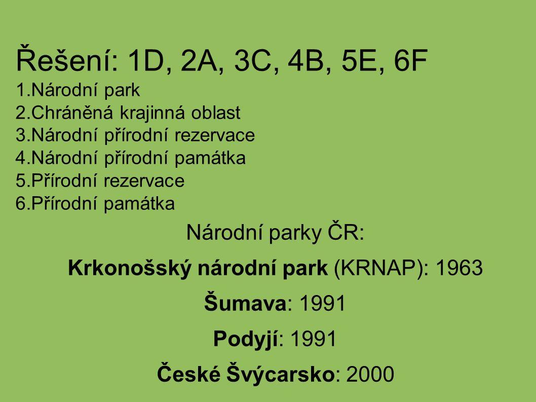 Řešení: 1D, 2A, 3C, 4B, 5E, 6F 1.Národní park 2.Chráněná krajinná oblast 3.Národní přírodní rezervace 4.Národní přírodní památka 5.Přírodní rezervace 6.Přírodní památka Národní parky ČR: Krkonošský národní park (KRNAP): 1963 Šumava: 1991 Podyjí: 1991 České Švýcarsko: 2000