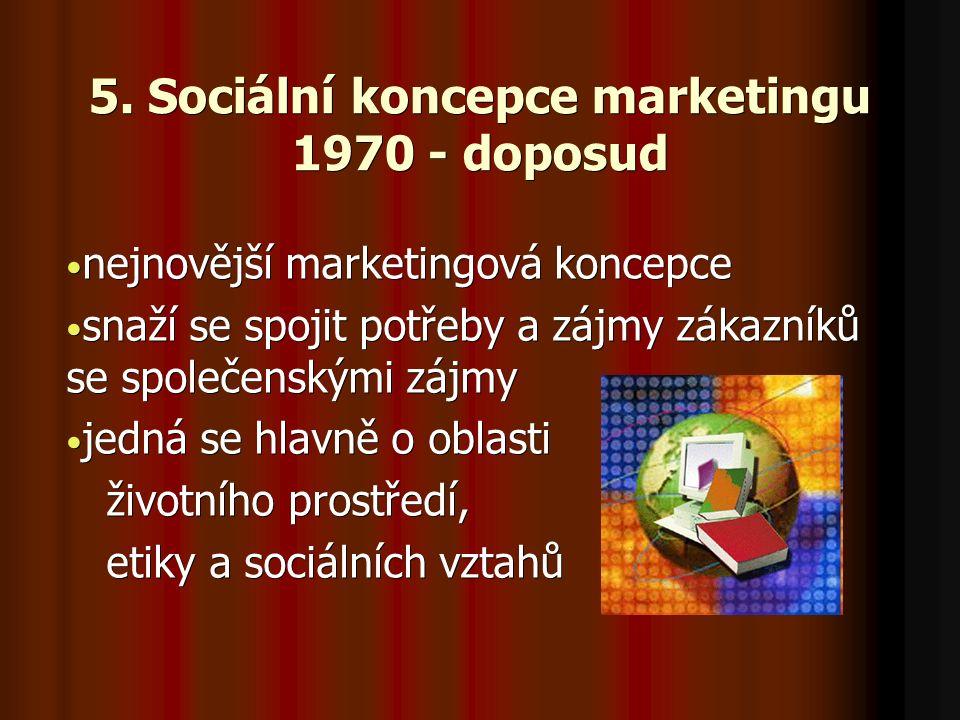 5. Sociální koncepce marketingu 1970 - doposud nejnovější marketingová koncepce nejnovější marketingová koncepce snaží se spojit potřeby a zájmy zákaz
