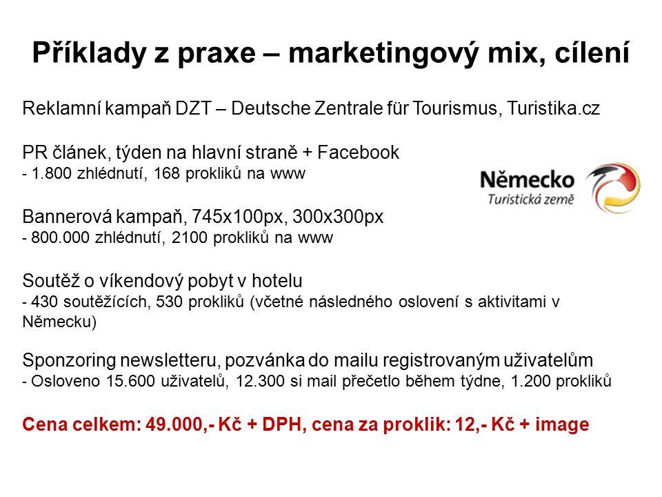 Příklady z praxe – marketingový mix, cílení Reklamní kampaň DZT – Deutsche Zentrale für Tourismus, Turistika.cz PR článek, týden na hlavní straně + Facebook - 1.800 zhlédnutí, 168 prokliků na www Bannerová kampaň, 745x100px, 300x300px - 800.000 zhlédnutí, 2100 prokliků na www Soutěž o víkendový pobyt v hotelu - 430 soutěžících, 530 prokliků (včetné následného oslovení s aktivitami v Německu) Sponzoring newsletteru, pozvánka do mailu registrovaným uživatelům - Osloveno 15.600 uživatelů, 12.300 si mail přečetlo během týdne, 1.200 prokliků Cena celkem: 49.000,- Kč + DPH, cena za proklik: 12,- Kč + image