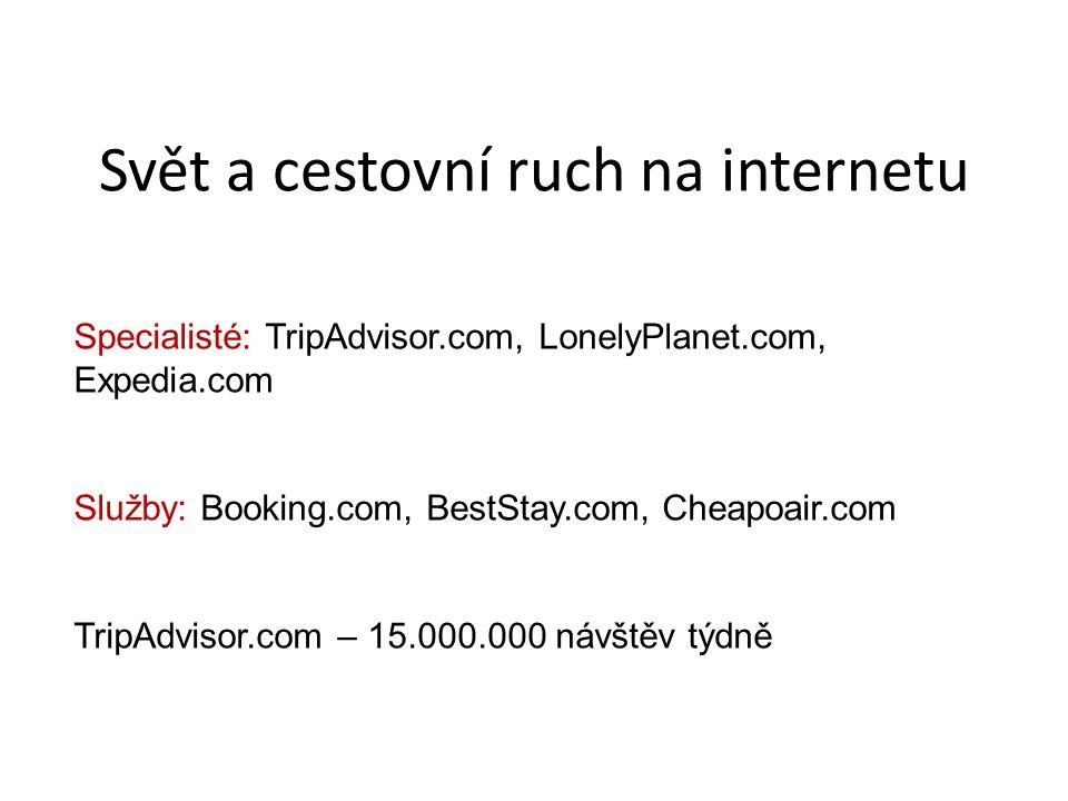Svět a cestovní ruch na internetu Specialisté: TripAdvisor.com, LonelyPlanet.com, Expedia.com Služby: Booking.com, BestStay.com, Cheapoair.com TripAdvisor.com – 15.000.000 návštěv týdně