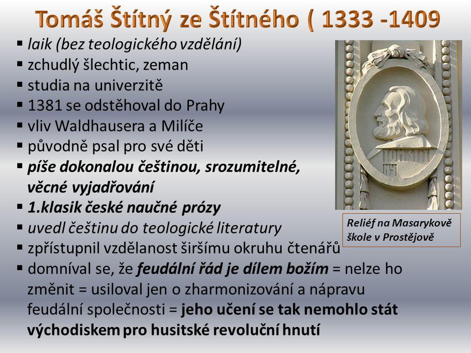  laik (bez teologického vzdělání)  zchudlý šlechtic, zeman  studia na univerzitě  1381 se odstěhoval do Prahy  vliv Waldhausera a Milíče  původn