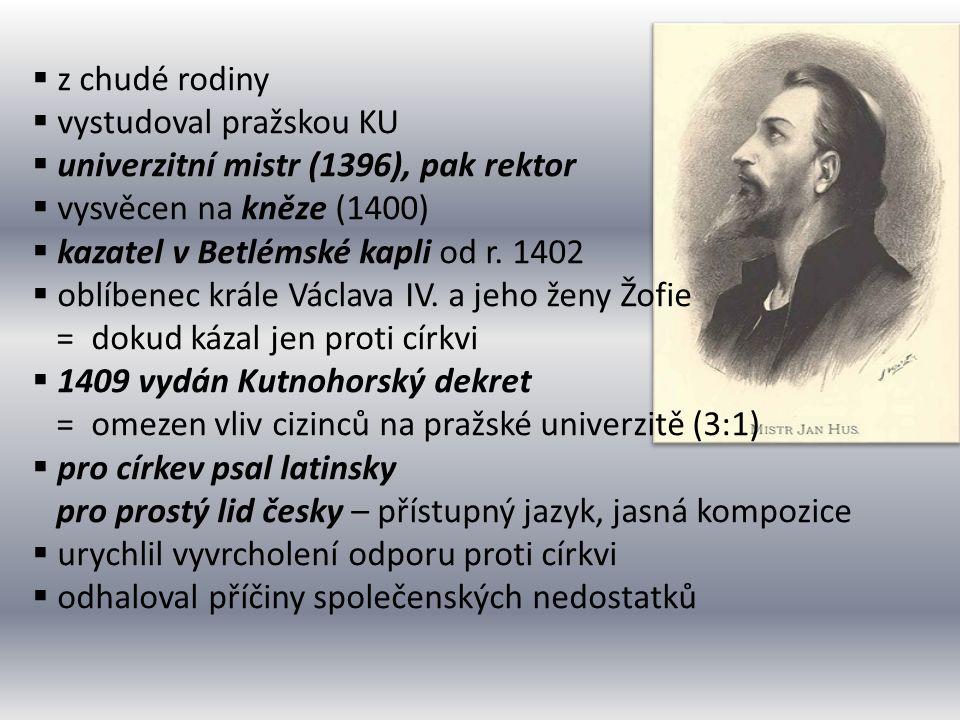  z chudé rodiny  vystudoval pražskou KU  univerzitní mistr (1396), pak rektor  vysvěcen na kněze (1400)  kazatel v Betlémské kapli od r. 1402  o