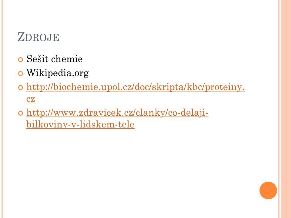 Z DROJE Sešit chemie Wikipedia.org http://biochemie.upol.cz/doc/skripta/kbc/proteiny.