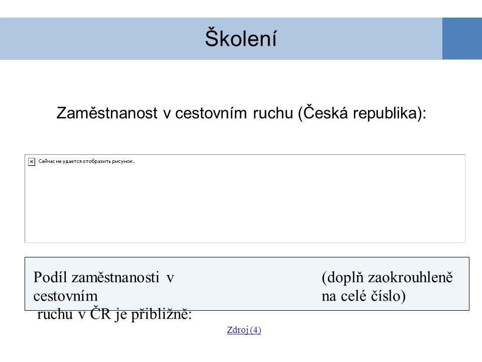 Zaměstnanost v cestovním ruchu (Česká republika): Školení Podíl zaměstnanosti v cestovním ruchu v ČR je přibližně: (doplň zaokrouhleně na celé číslo)