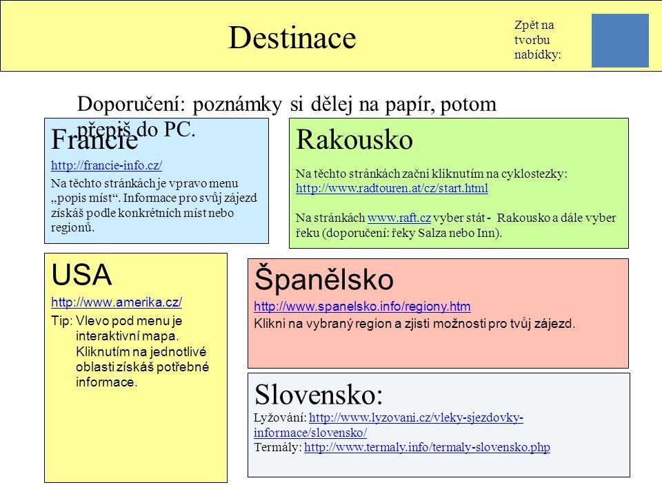 USA http://www.amerika.cz/ Tip: Vlevo pod menu je interaktivní mapa. Kliknutím na jednotlivé oblasti získáš potřebné informace. Španělsko http://www.s