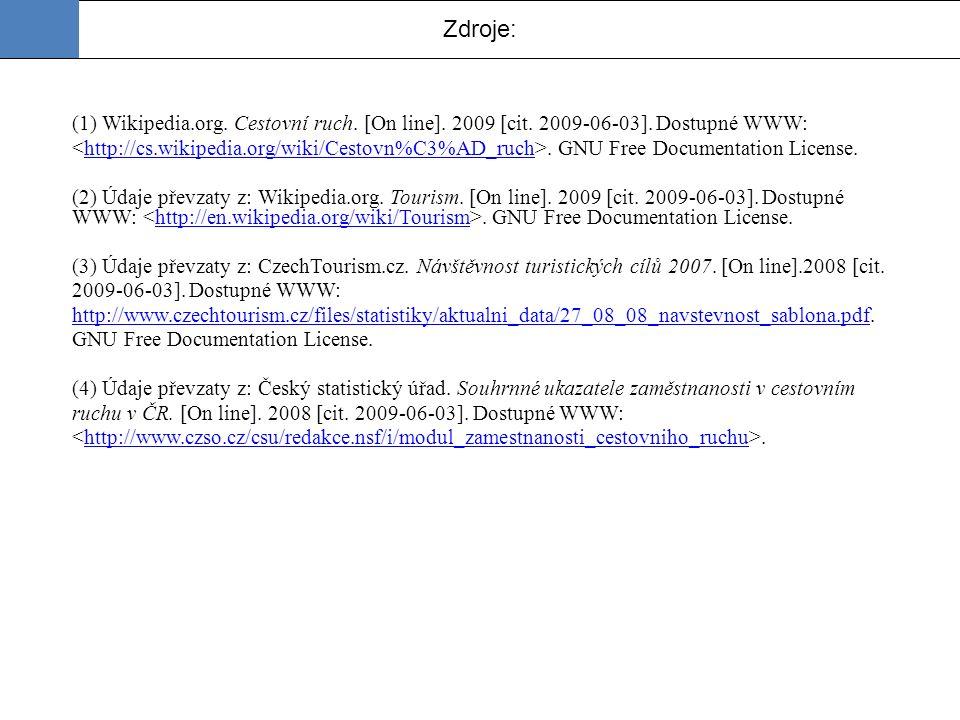 Zdroje: (1) Wikipedia.org. Cestovní ruch. [On line]. 2009 [cit. 2009-06-03]. Dostupné WWW:. GNU Free Documentation License.http://cs.wikipedia.org/wik