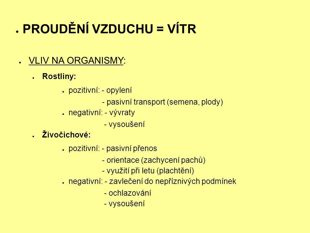 ● PROUDĚNÍ VZDUCHU = VÍTR ● VLIV NA ORGANISMY: ● Rostliny: ● pozitivní: - opylení - pasivní transport (semena, plody) ● negativní: - vývraty - vysoušení ● Živočichové: ● pozitivní: - pasivní přenos - orientace (zachycení pachů) - využití při letu (plachtění) ● negativní: - zavlečení do nepříznivých podmínek - ochlazování - vysoušení