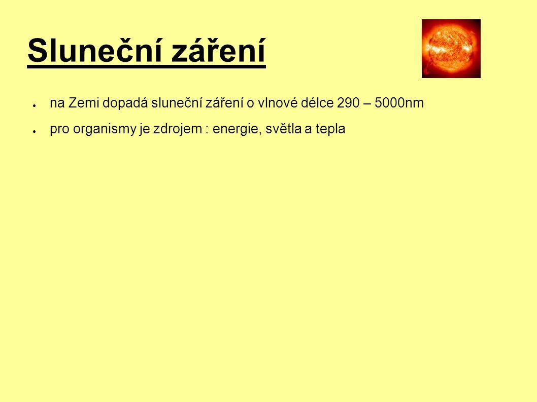 Sluneční záření ● na Zemi dopadá sluneční záření o vlnové délce 290 – 5000nm ● pro organismy je zdrojem : energie, světla a tepla