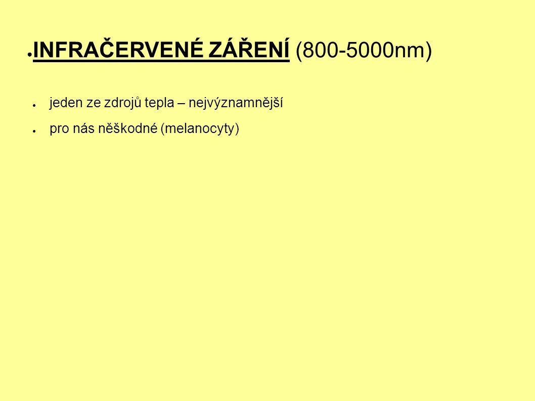 ● INFRAČERVENÉ ZÁŘENÍ (800-5000nm) ● jeden ze zdrojů tepla – nejvýznamnější ● pro nás něškodné (melanocyty)