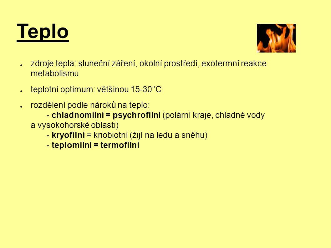 Teplo ● zdroje tepla: sluneční záření, okolní prostředí, exotermní reakce metabolismu ● teplotní optimum: většinou 15-30°C ● rozdělení podle nároků na teplo: - chladnomilní = psychrofilní (polární kraje, chladné vody a vysokohorské oblasti) - kryofilní = kriobiotní (žijí na ledu a sněhu) - teplomilní = termofilní