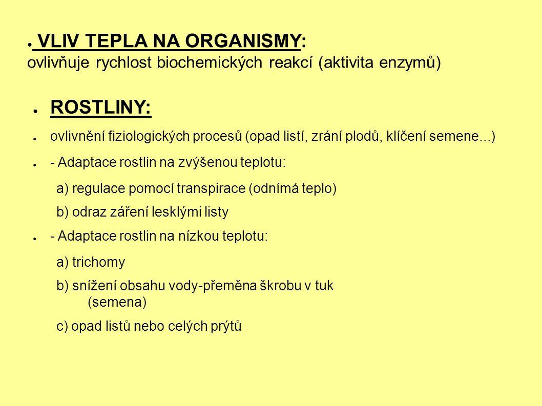 ● VLIV TEPLA NA ORGANISMY: ovlivňuje rychlost biochemických reakcí (aktivita enzymů) ● ROSTLINY: ● ovlivnění fiziologických procesů (opad listí, zrání plodů, klíčení semene...) ● - Adaptace rostlin na zvýšenou teplotu: a) regulace pomocí transpirace (odnímá teplo) b) odraz záření lesklými listy ● - Adaptace rostlin na nízkou teplotu: a) trichomy b) snížení obsahu vody-přeměna škrobu v tuk (semena) c) opad listů nebo celých prýtů