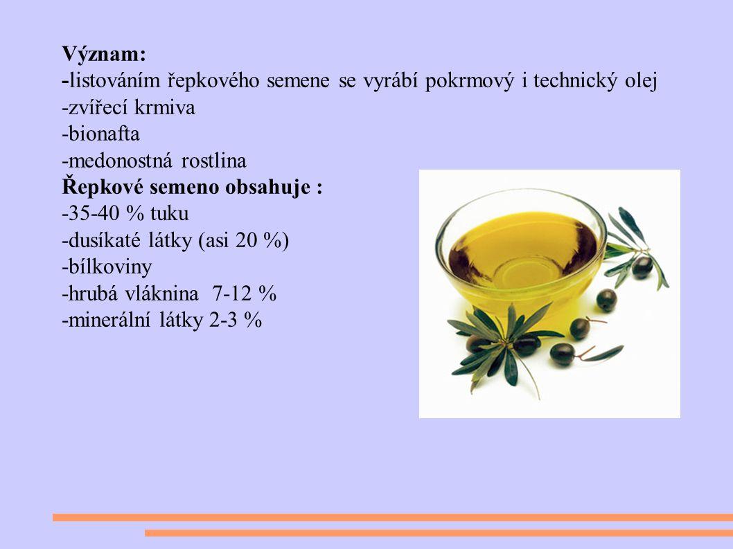 Význam: -listováním řepkového semene se vyrábí pokrmový i technický olej -zvířecí krmiva -bionafta -medonostná rostlina Řepkové semeno obsahuje : -35-40 % tuku -dusíkaté látky (asi 20 %) -bílkoviny -hrubá vláknina 7-12 % -minerální látky 2-3 %