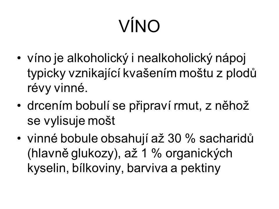 VÍNO víno je alkoholický i nealkoholický nápoj typicky vznikající kvašením moštu z plodů révy vinné.