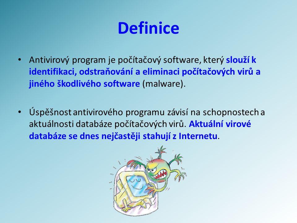 Definice Antivirový program je počítačový software, který slouží k identifikaci, odstraňování a eliminaci počítačových virů a jiného škodlivého software (malware).