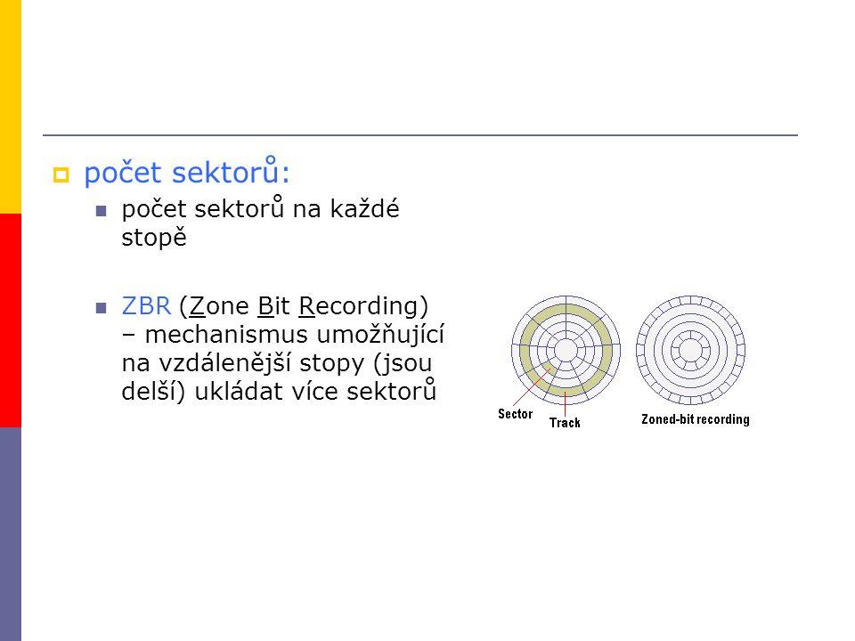  počet sektorů: počet sektorů na každé stopě ZBR (Zone Bit Recording) – mechanismus umožňující na vzdálenější stopy (jsou delší) ukládat více sektorů