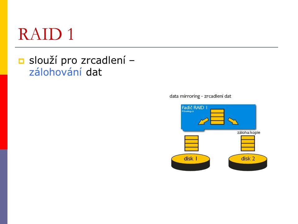 RAID 1  slouží pro zrcadlení – zálohování dat