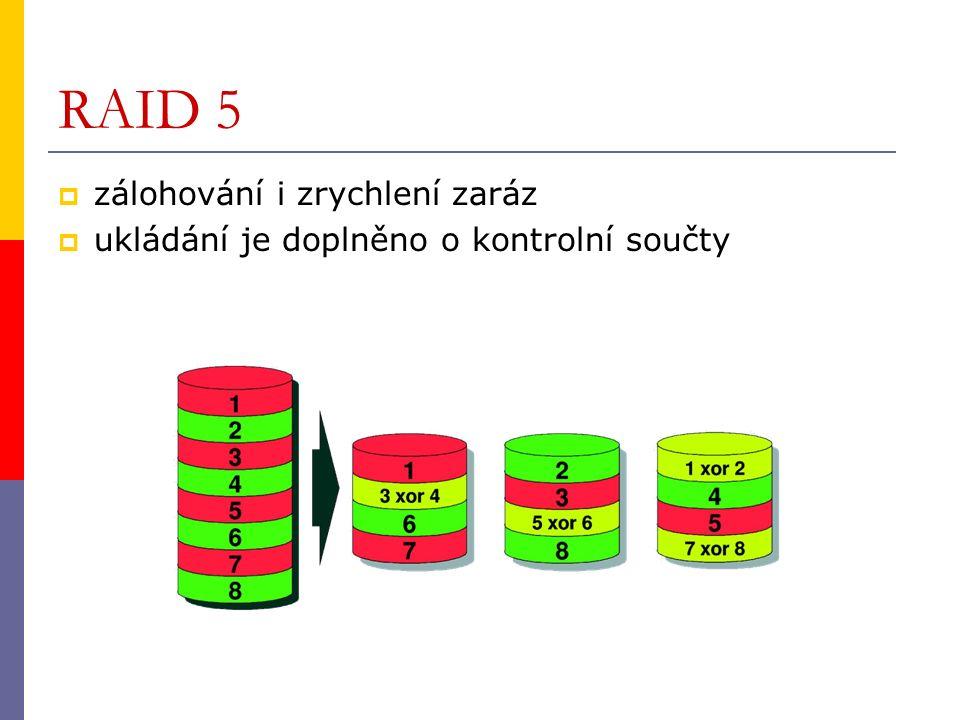 RAID 5  zálohování i zrychlení zaráz  ukládání je doplněno o kontrolní součty