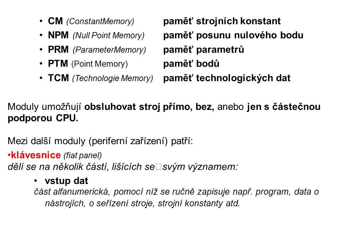 CM (ConstantMemory) paměť strojních konstant NPM (Null Point Memory) paměť posunu nulového bodu PRM (ParameterMemory) paměť parametrů PTM (Point Memory) paměť bodů TCM (Technologie Memory) paměť technologických dat Moduly umožňují obsluhovat stroj přímo, bez, anebo jen s částečnou podporou CPU.