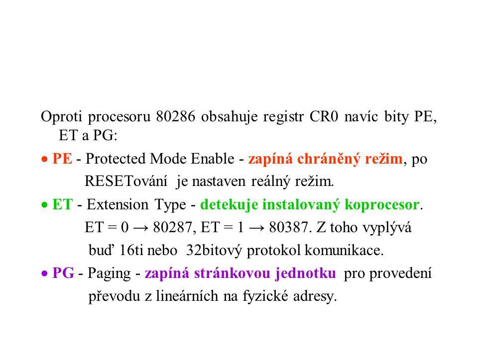 Oproti procesoru 80286 obsahuje registr CR0 navíc bity PE, ET a PG:  PE - Protected Mode Enable - zapíná chráněný režim, po RESETování je nastaven reálný režim.