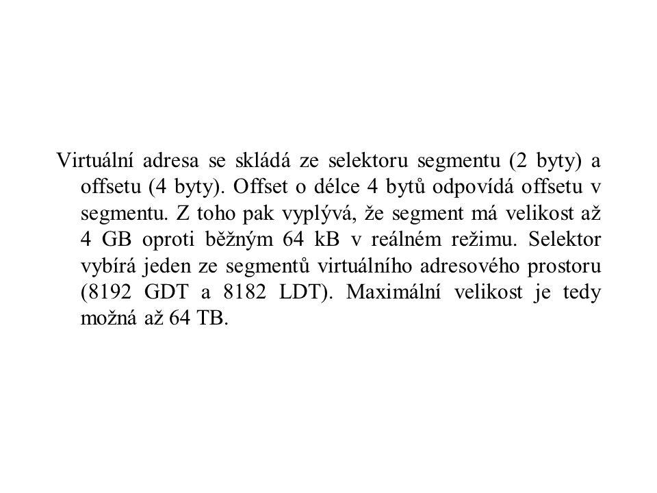 Virtuální adresa se skládá ze selektoru segmentu (2 byty) a offsetu (4 byty).