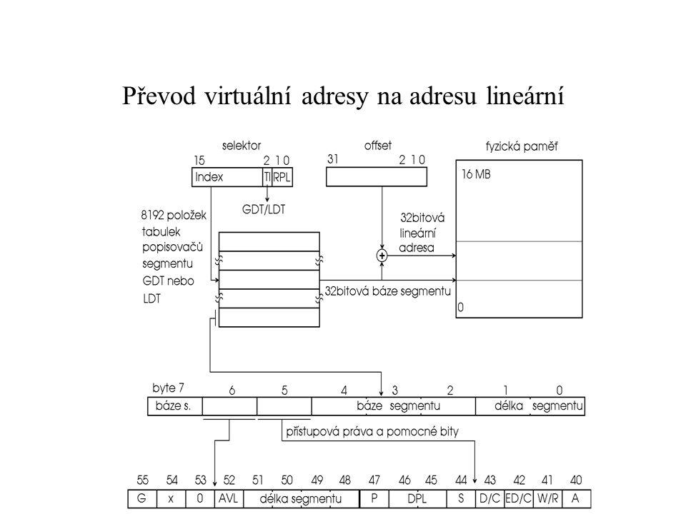 Převod virtuální adresy na adresu lineární