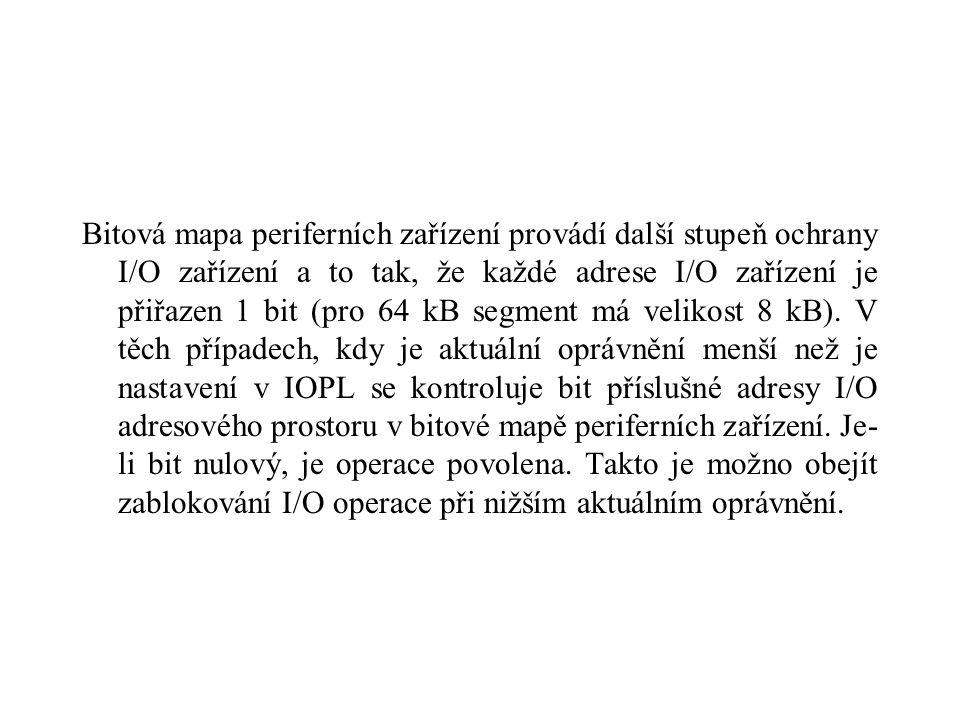 Bitová mapa periferních zařízení provádí další stupeň ochrany I/O zařízení a to tak, že každé adrese I/O zařízení je přiřazen 1 bit (pro 64 kB segment má velikost 8 kB).