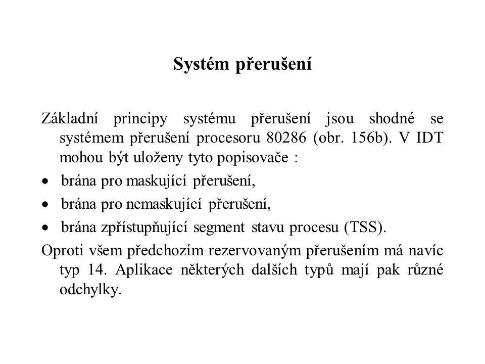 Systém přerušení Základní principy systému přerušení jsou shodné se systémem přerušení procesoru 80286 (obr. 156b). V IDT mohou být uloženy tyto popis