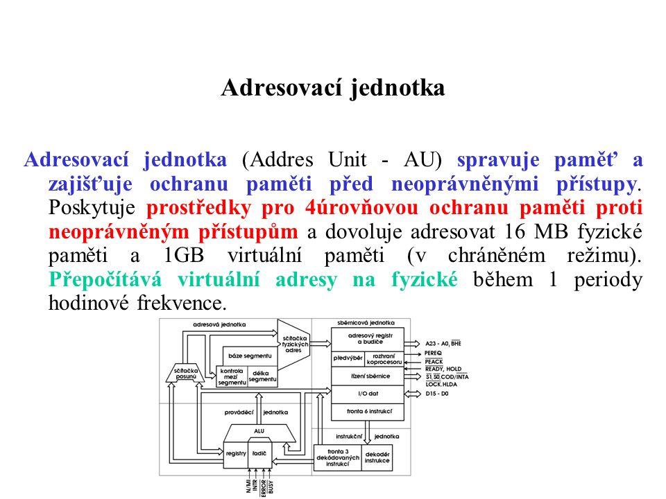Adresovací jednotka Adresovací jednotka (Addres Unit - AU) spravuje paměť a zajišťuje ochranu paměti před neoprávněnými přístupy. Poskytuje prostředky