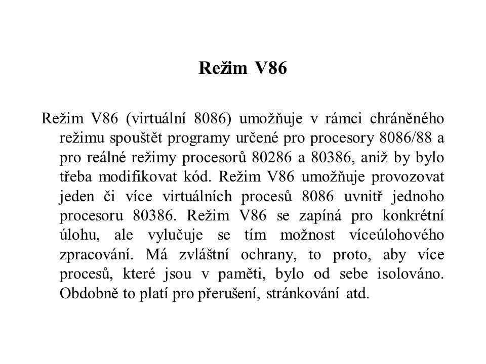 Režim V86 Režim V86 (virtuální 8086) umožňuje v rámci chráněného režimu spouštět programy určené pro procesory 8086/88 a pro reálné režimy procesorů 80286 a 80386, aniž by bylo třeba modifikovat kód.