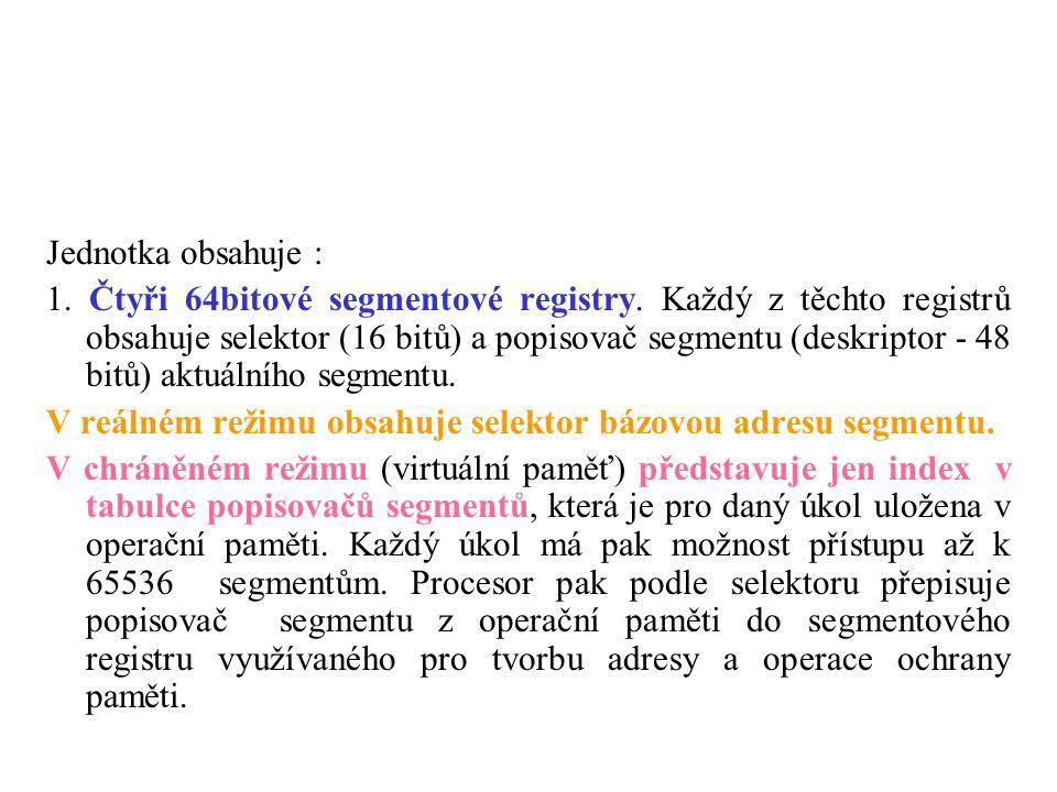 Jednotka obsahuje : 1. Čtyři 64bitové segmentové registry. Každý z těchto registrů obsahuje selektor (16 bitů) a popisovač segmentu (deskriptor - 48 b