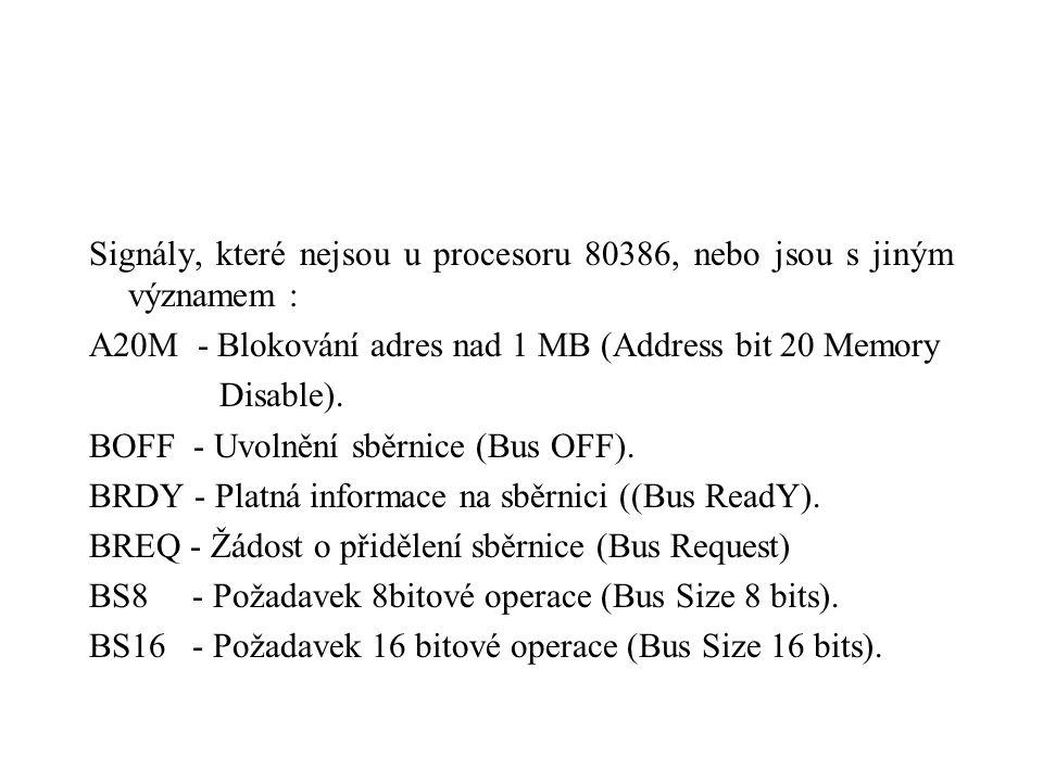 Signály, které nejsou u procesoru 80386, nebo jsou s jiným významem : A20M - Blokování adres nad 1 MB (Address bit 20 Memory Disable). BOFF - Uvolnění